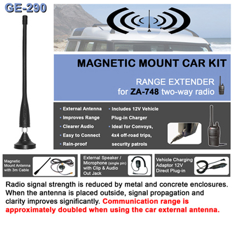 Magnetic mount Car Kit<br />Includes Magnetic base with 3m cable, Antenna, Lapel speaker mic, Vehicle charger