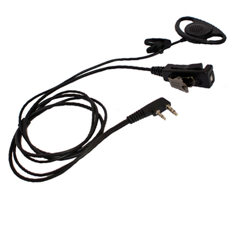 Heavy Duty  in-line microphone with D-cup extra loud earphone. Use on VOX (hands-free) or PTT